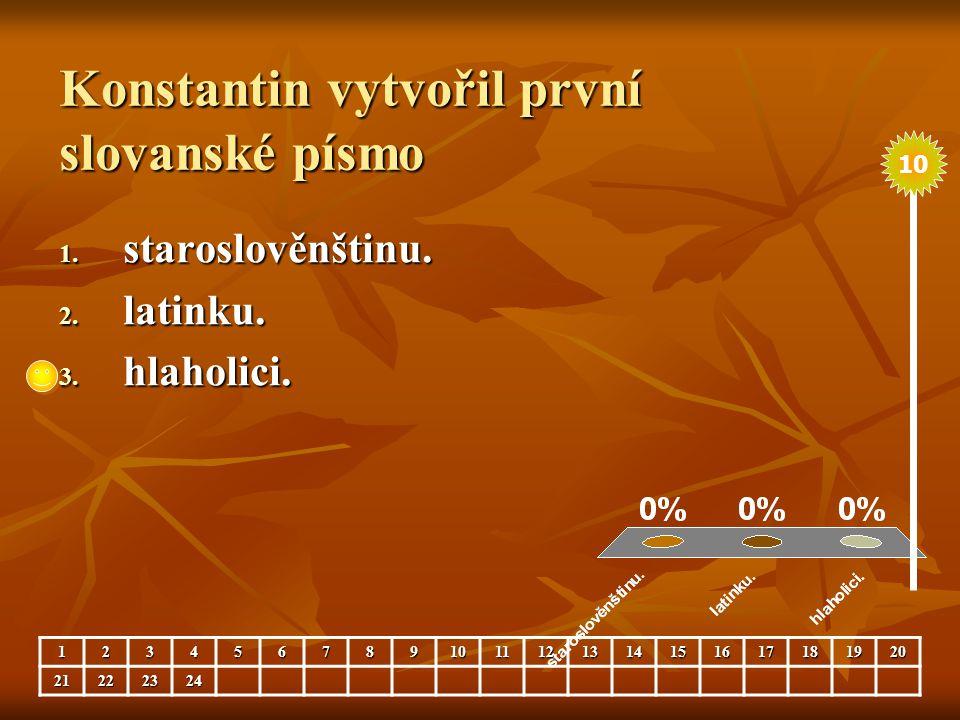 Konstantin vytvořil první slovanské písmo 1. staroslověnštinu. 2. latinku. 3. hlaholici. 123456789101112131415161718192021222324 10