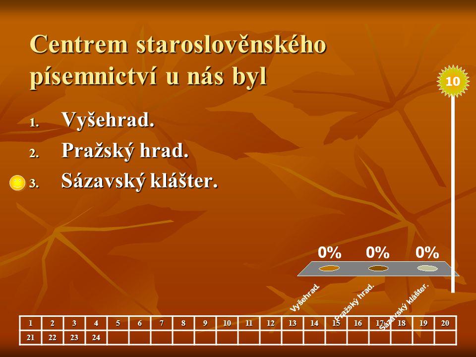 Centrem staroslověnského písemnictví u nás byl 1. Vyšehrad. 2. Pražský hrad. 3. Sázavský klášter. 123456789101112131415161718192021222324 10