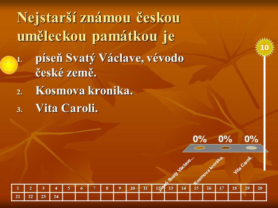 Nejstarší známou českou uměleckou památkou je 1. píseň Svatý Václave, vévodo české země. 2. Kosmova kronika. 3. Vita Caroli. 1234567891011121314151617