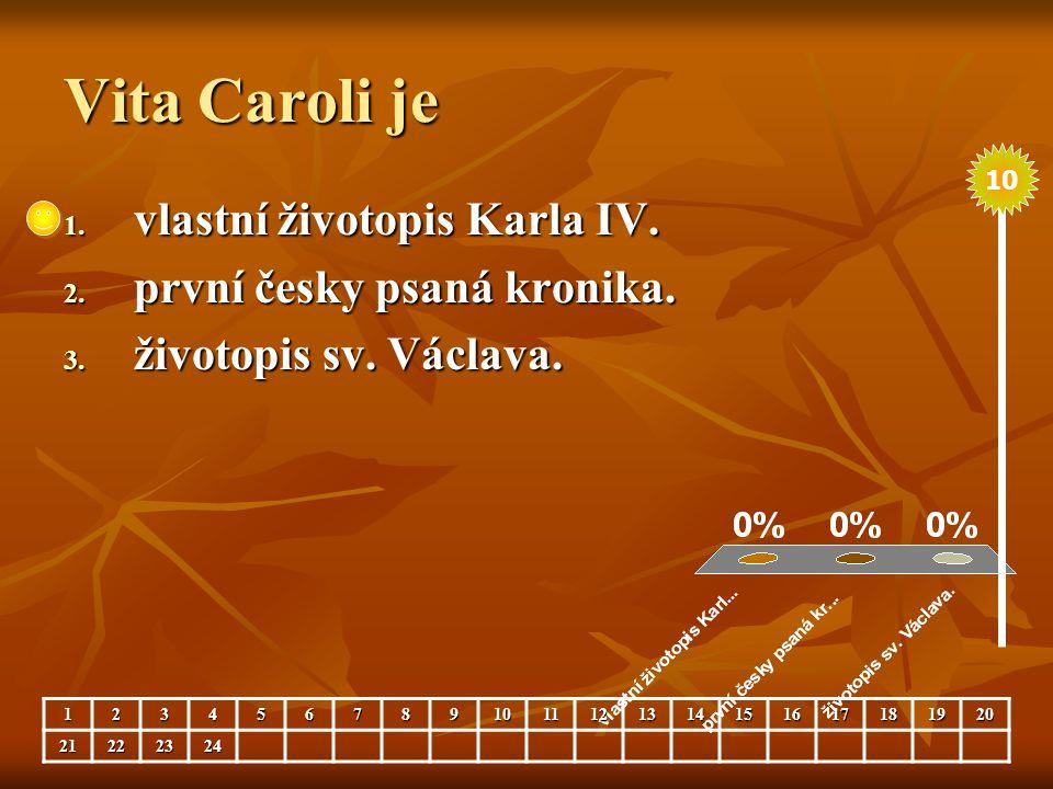 Vita Caroli je 1. vlastní životopis Karla IV. 2. první česky psaná kronika. 3. životopis sv. Václava. 123456789101112131415161718192021222324 10