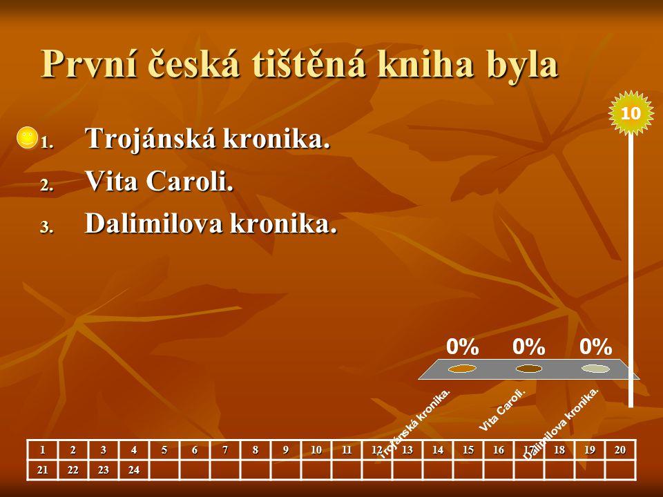 První česká tištěná kniha byla 1. Trojánská kronika. 2. Vita Caroli. 3. Dalimilova kronika. 123456789101112131415161718192021222324 10