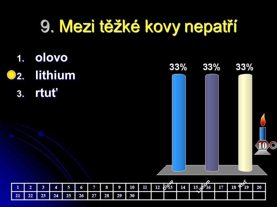 9. Mezi těžké kovy nepatří 10 1. olovo 2. lithium 3. rtuť 123456789101112131415161718192021222324252627282930