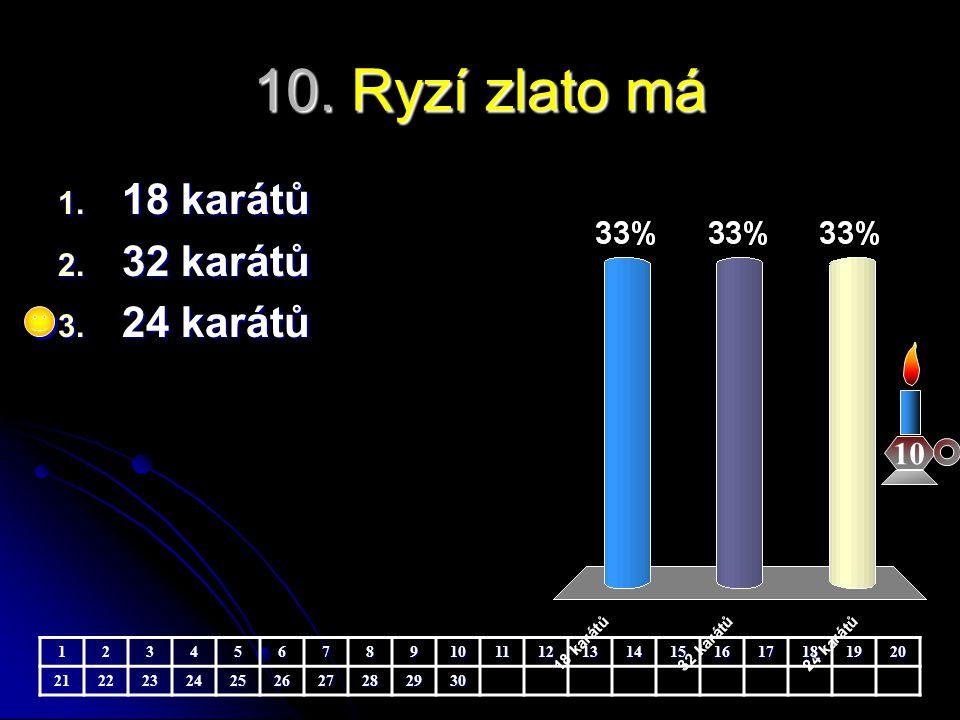 10. Ryzí zlato má 10 1. 18 karátů 2. 32 karátů 3. 24 karátů 123456789101112131415161718192021222324252627282930