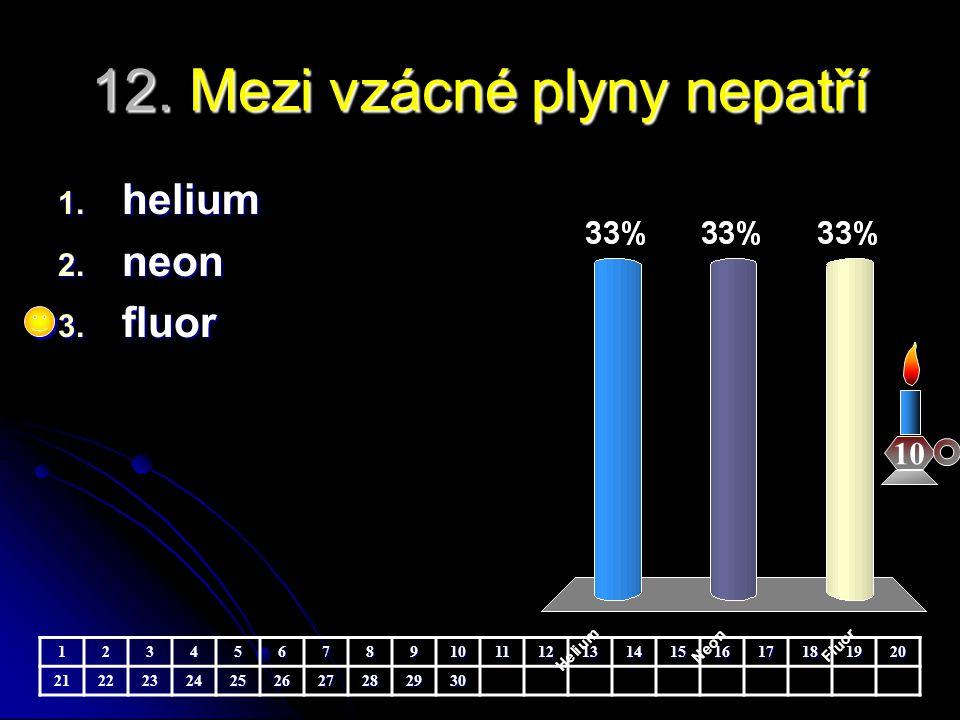 12. Mezi vzácné plyny nepatří 10 1. helium 2. neon 3. fluor 123456789101112131415161718192021222324252627282930
