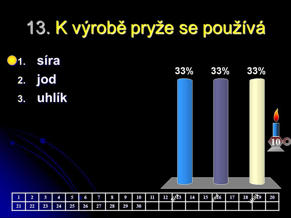 13.K výrobě pryže se používá 10 1. síra 2. jod 3.