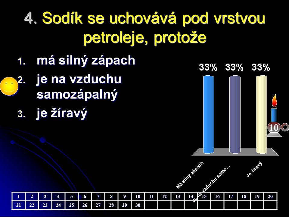 4. Sodík se uchovává pod vrstvou petroleje, protože 10 1. má silný zápach 2. je na vzduchu samozápalný 3. je žíravý 1234567891011121314151617181920212