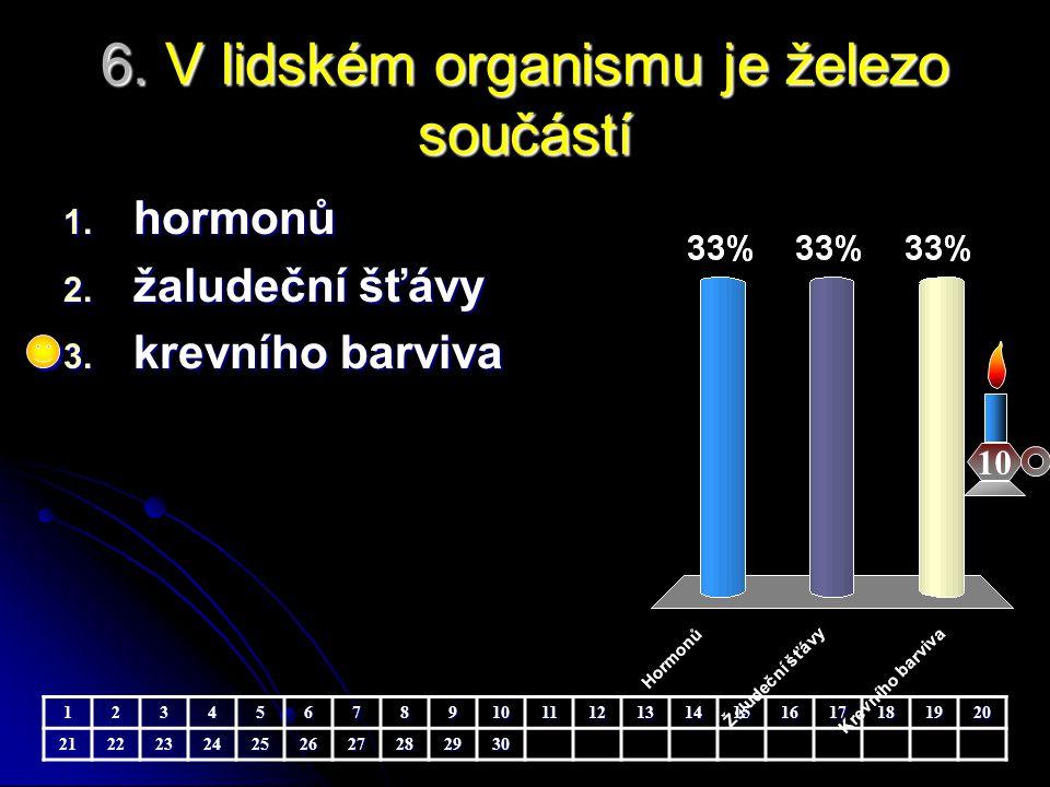 6. V lidském organismu je železo součástí 10 1. hormonů 2. žaludeční šťávy 3. krevního barviva 123456789101112131415161718192021222324252627282930