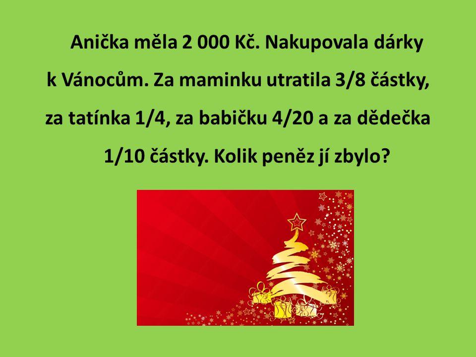 Anička měla 2 000 Kč. Nakupovala dárky k Vánocům.