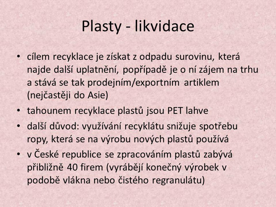 Plasty - likvidace cílem recyklace je získat z odpadu surovinu, která najde další uplatnění, popřípadě je o ní zájem na trhu a stává se tak prodejním/exportním artiklem (nejčastěji do Asie) tahounem recyklace plastů jsou PET lahve další důvod: využívání recyklátu snižuje spotřebu ropy, která se na výrobu nových plastů používá v České republice se zpracováním plastů zabývá přibližně 40 firem (vyrábějí konečný výrobek v podobě vlákna nebo čistého regranulátu)