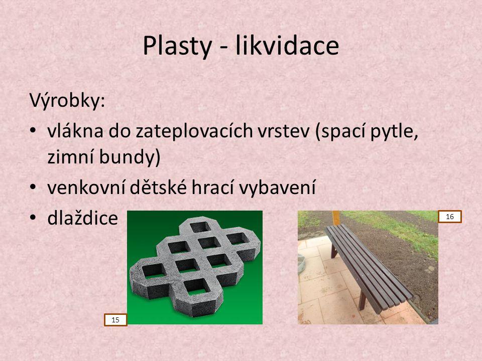Plasty - likvidace Výrobky: vlákna do zateplovacích vrstev (spací pytle, zimní bundy) venkovní dětské hrací vybavení dlaždice 15 16