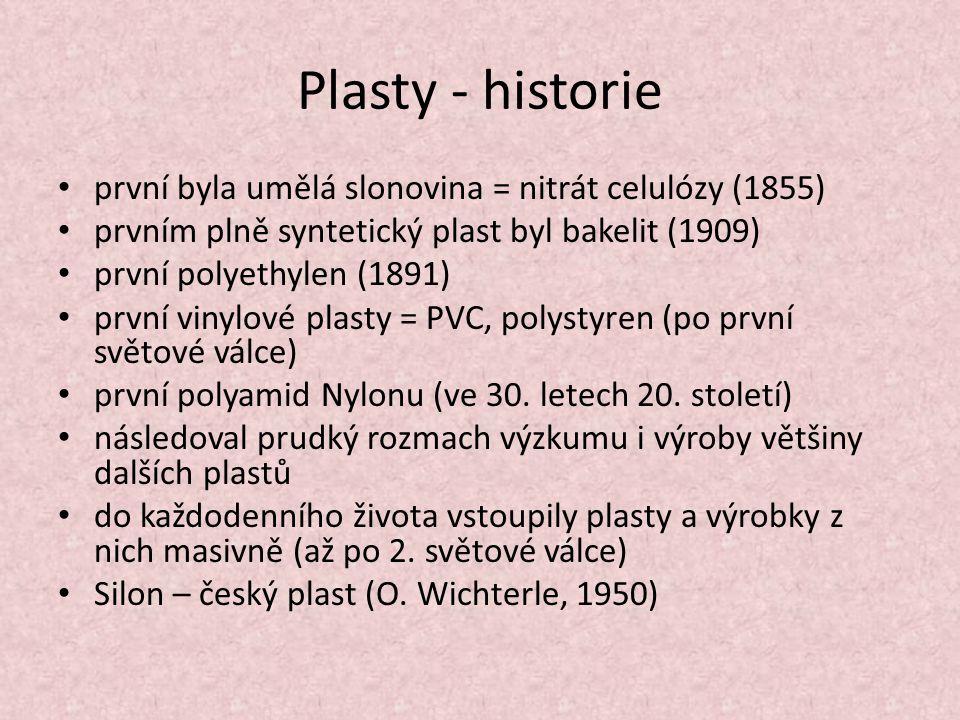 Plasty - historie první byla umělá slonovina = nitrát celulózy (1855) prvním plně syntetický plast byl bakelit (1909) první polyethylen (1891) první vinylové plasty = PVC, polystyren (po první světové válce) první polyamid Nylonu (ve 30.