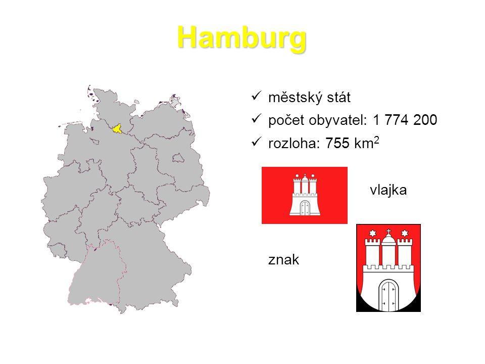 Hamburg městský stát počet obyvatel: 1 774 200 rozloha: 755 km 2 vlajka znak