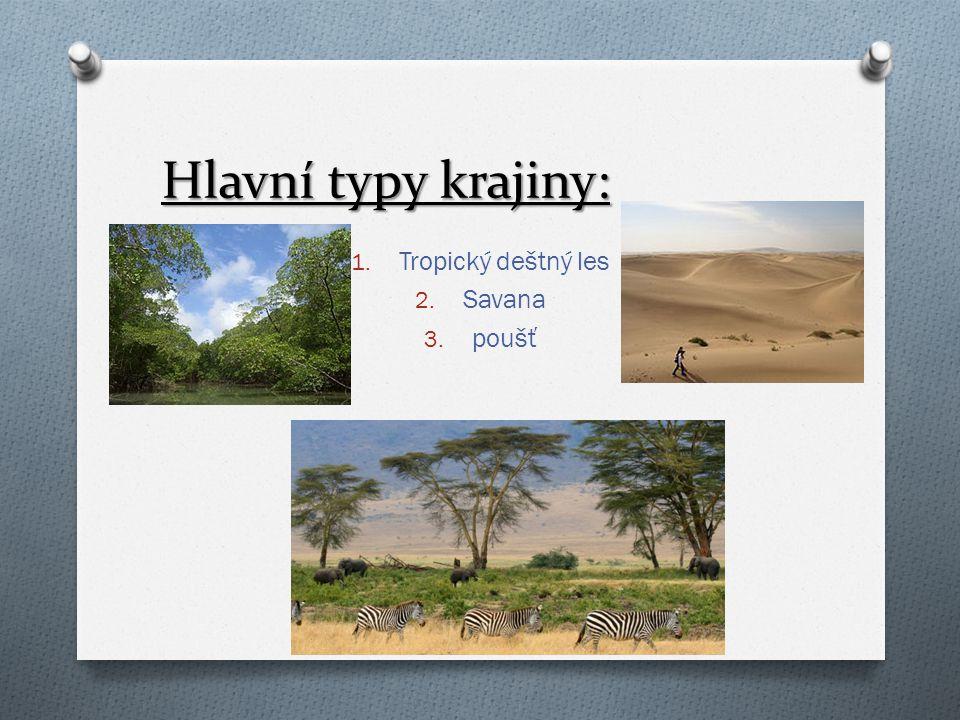 Hlavní typy krajiny: 1. Tropický deštný les 2. Savana 3. poušť