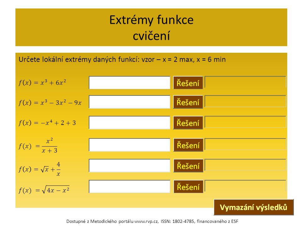 Extrémy funkce cvičení Dostupné z Metodického portálu www.rvp.cz, ISSN: 1802-4785, financovaného z ESF