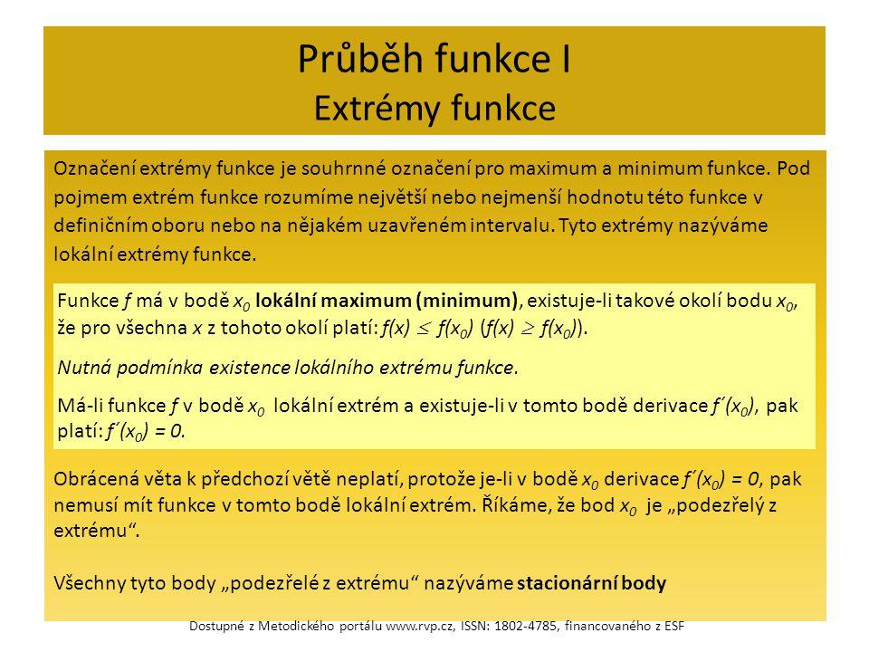 Průběh funkce I Extrémy funkce Označení extrémy funkce je souhrnné označení pro maximum a minimum funkce.