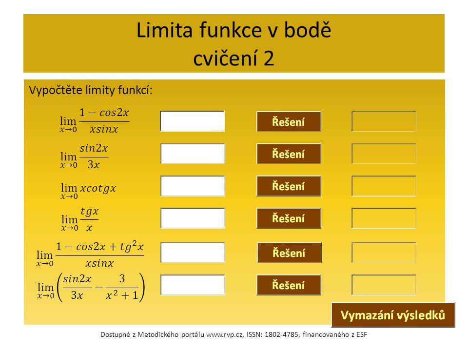 Limita funkce v bodě cvičení 2 Vypočtěte limity funkcí: Dostupné z Metodického portálu www.rvp.cz, ISSN: 1802-4785, financovaného z ESF