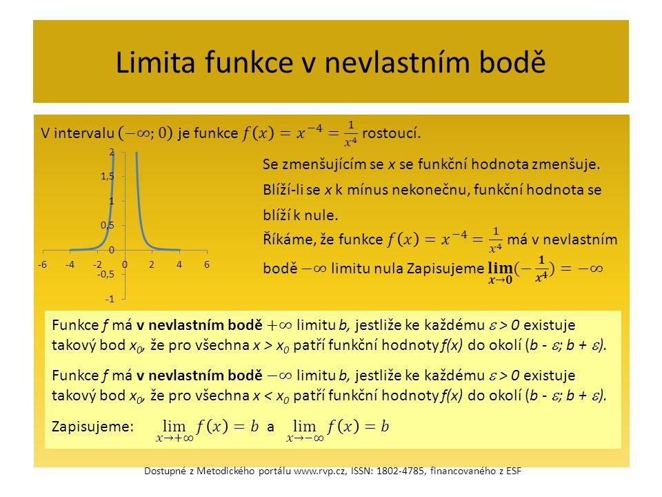 Limita funkce v nevlastním bodě Dostupné z Metodického portálu www.rvp.cz, ISSN: 1802-4785, financovaného z ESF