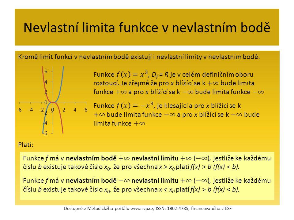 Nevlastní limita funkce v nevlastním bodě Kromě limit funkcí v nevlastním bodě existují i nevlastní limity v nevlastním bodě. Platí: Dostupné z Metodi