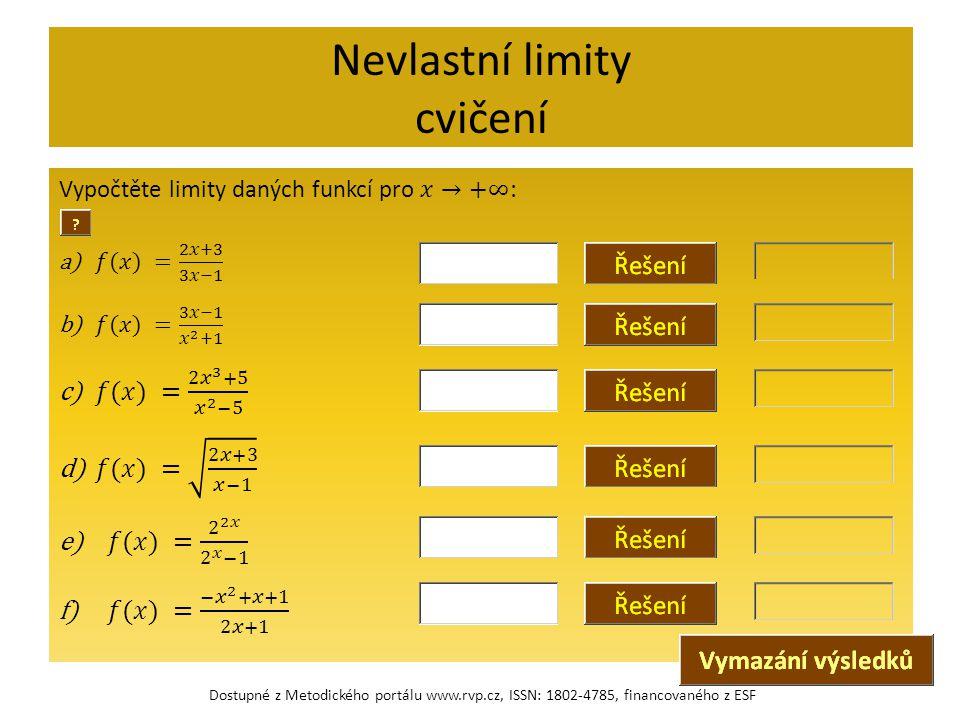 Nevlastní limity cvičení Dostupné z Metodického portálu www.rvp.cz, ISSN: 1802-4785, financovaného z ESF