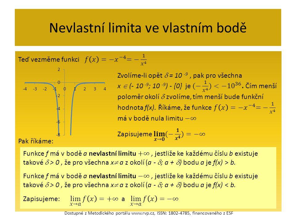 Nevlastní limita ve vlastním bodě Dostupné z Metodického portálu www.rvp.cz, ISSN: 1802-4785, financovaného z ESF