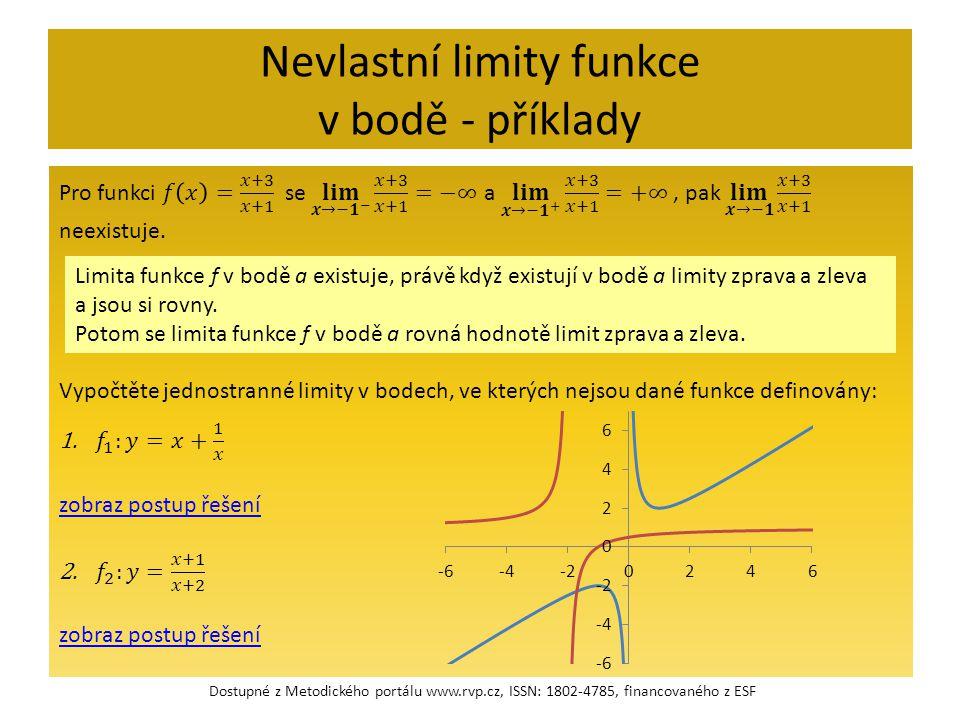 Nevlastní limity funkce v bodě - příklady Limita funkce f v bodě a existuje, právě když existují v bodě a limity zprava a zleva a jsou si rovny. Potom