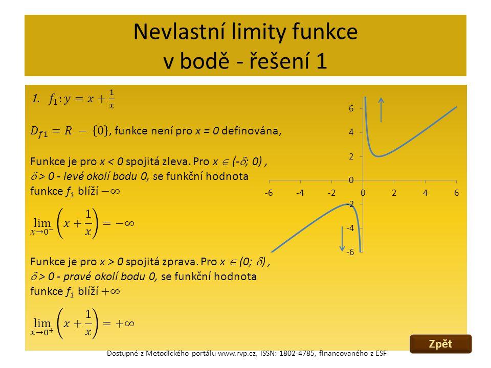 Nevlastní limity funkce v bodě - řešení 1 Zpět Dostupné z Metodického portálu www.rvp.cz, ISSN: 1802-4785, financovaného z ESF