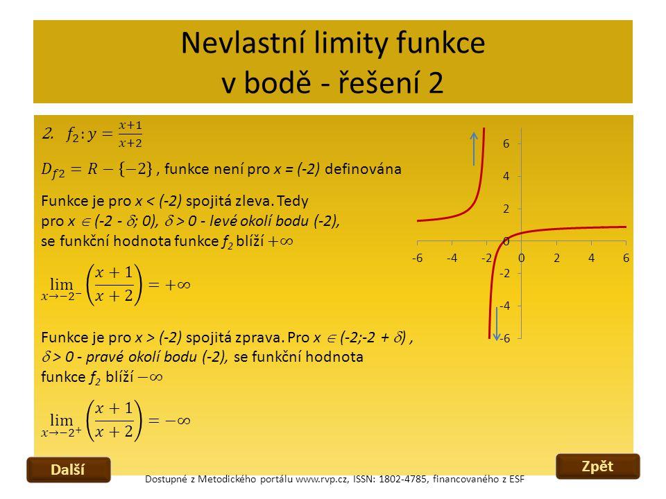 Nevlastní limity funkce v bodě - řešení 2 Zpět Další Dostupné z Metodického portálu www.rvp.cz, ISSN: 1802-4785, financovaného z ESF