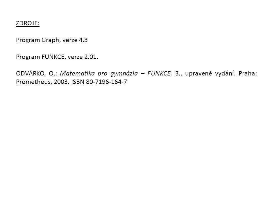 ZDROJE: Program Graph, verze 4.3 Program FUNKCE, verze 2.01. ODVÁRKO, O.: Matematika pro gymnázia – FUNKCE. 3., upravené vydání. Praha: Prometheus, 20