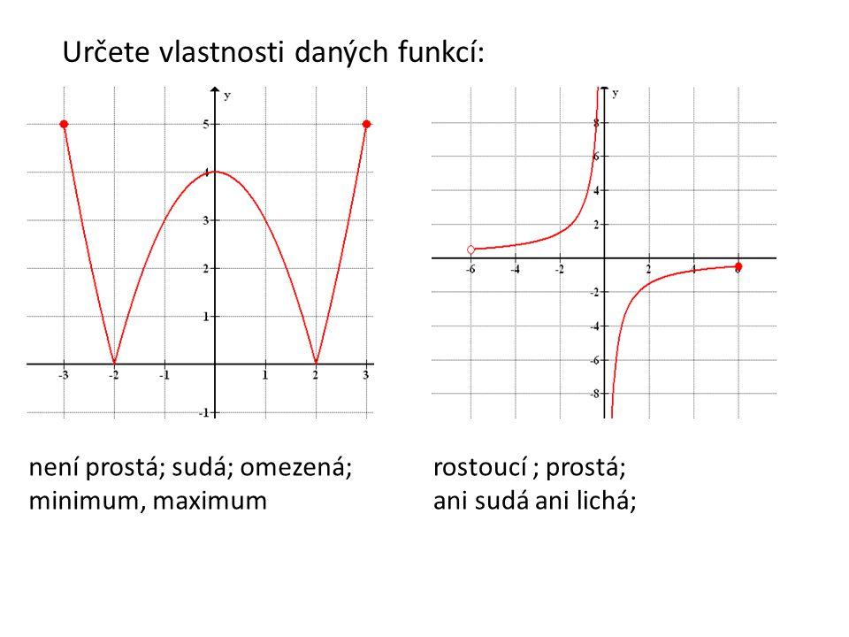 Určete vlastnosti daných funkcí: není prostá; sudá; omezená; minimum, maximum rostoucí ; prostá; ani sudá ani lichá;