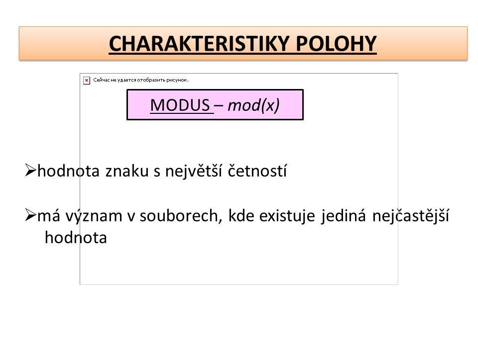 CHARAKTERISTIKY POLOHY MODUS – mod(x)  hodnota znaku s největší četností  má význam v souborech, kde existuje jediná nejčastější hodnota