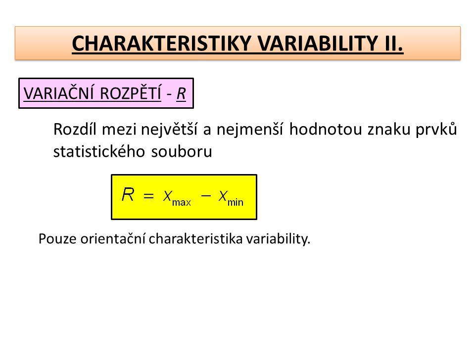 CHARAKTERISTIKY VARIABILITY II.PRŮMĚRNÁ ABSOLUTNÍ ODCHYLKA- aritm.