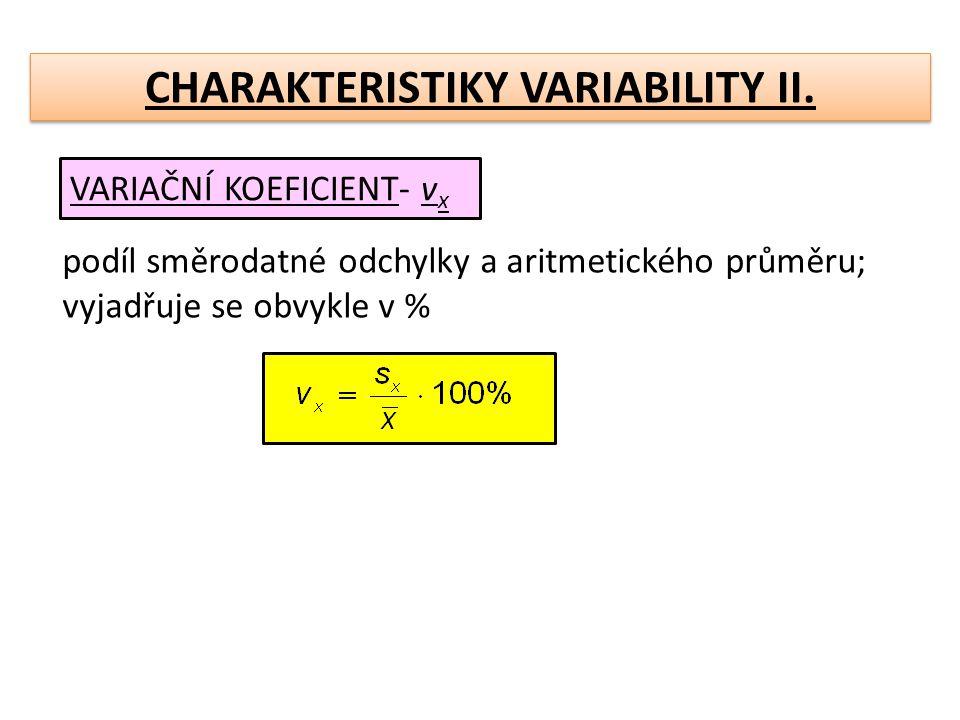 CHARAKTERISTIKY VARIABILITY II.MEZIKVARTILOVÁ ODCHYLKA- Q(x) Jestliže místo aritm.