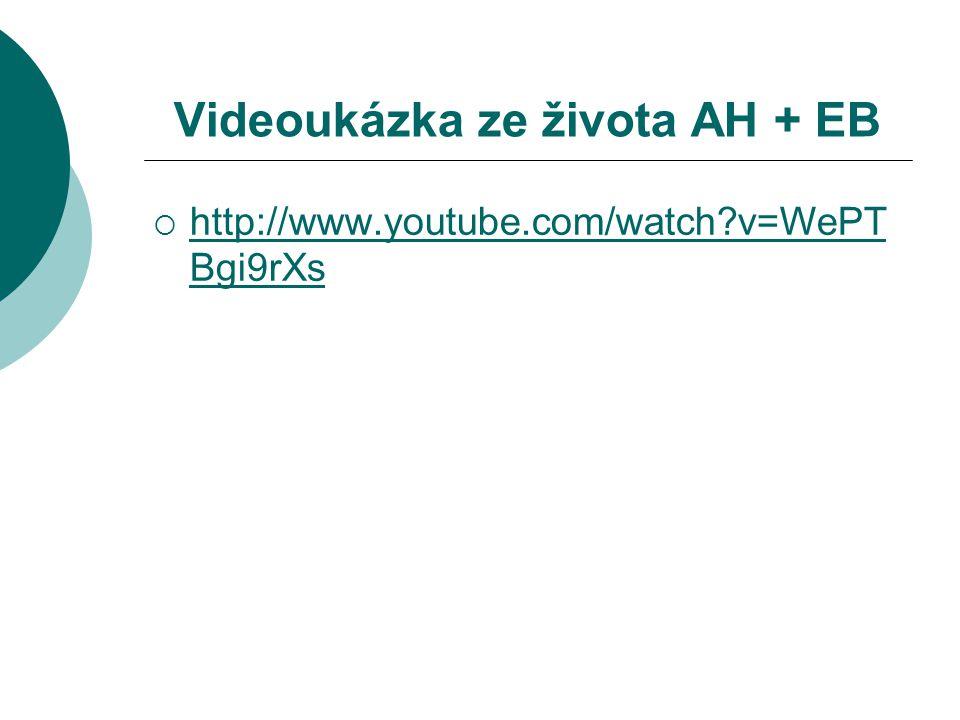 Videoukázka ze života AH + EB  http://www.youtube.com/watch?v=WePT Bgi9rXs http://www.youtube.com/watch?v=WePT Bgi9rXs