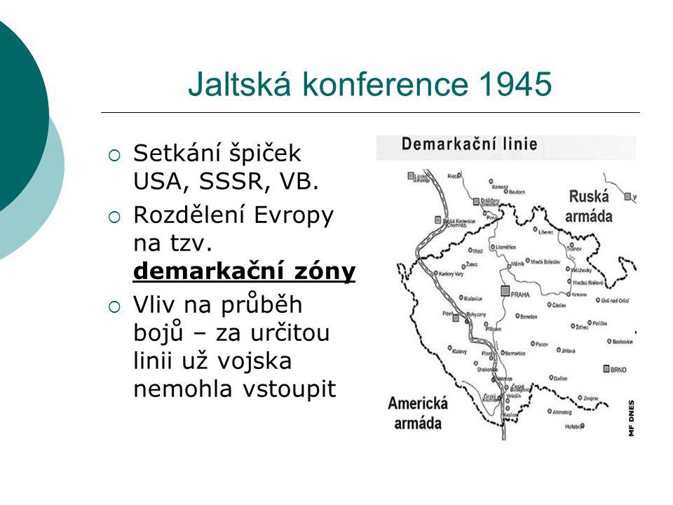 Jaltská konference 1945  Setkání špiček USA, SSSR, VB.  Rozdělení Evropy na tzv. demarkační zóny  Vliv na průběh bojů – za určitou linii už vojska