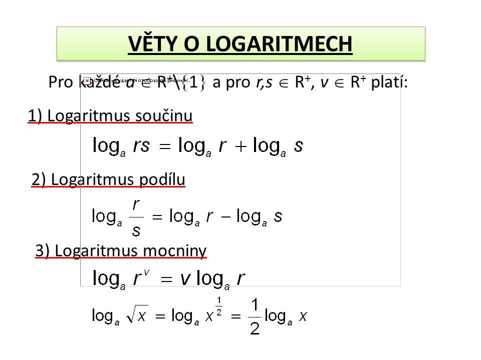 Pro každé a  R + \  1  a pro r,s  R +, v  R + platí: 1) Logaritmus součinu 2) Logaritmus podílu 3) Logaritmus mocniny
