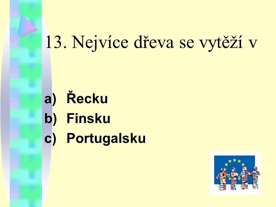 13. Nejvíce dřeva se vytěží v a) Řecku b) Finsku c) Portugalsku