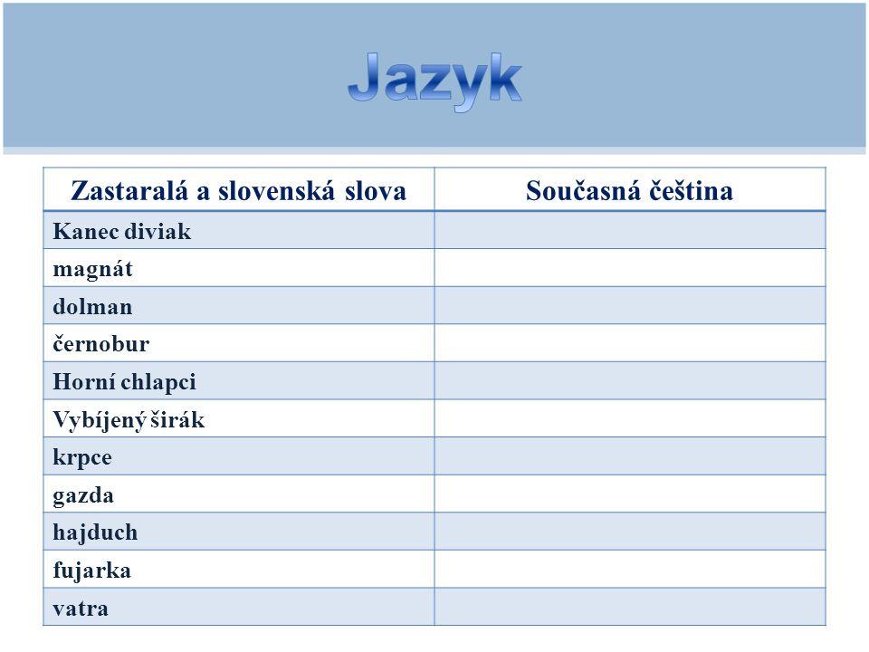 1.Kde se zbojníci scházeli.2.Jaké měli zbraně. 3.Proč byl Jánošík a jeho otec potrestáni.
