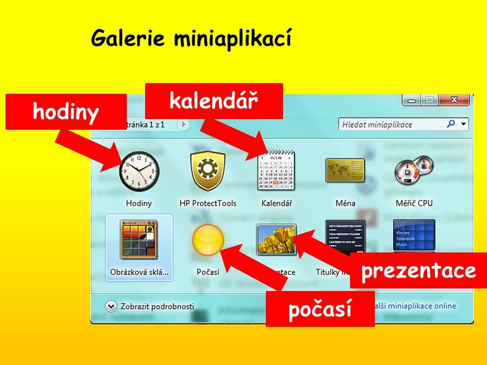 kalendář hodiny počasí prezentace Galerie miniaplikací