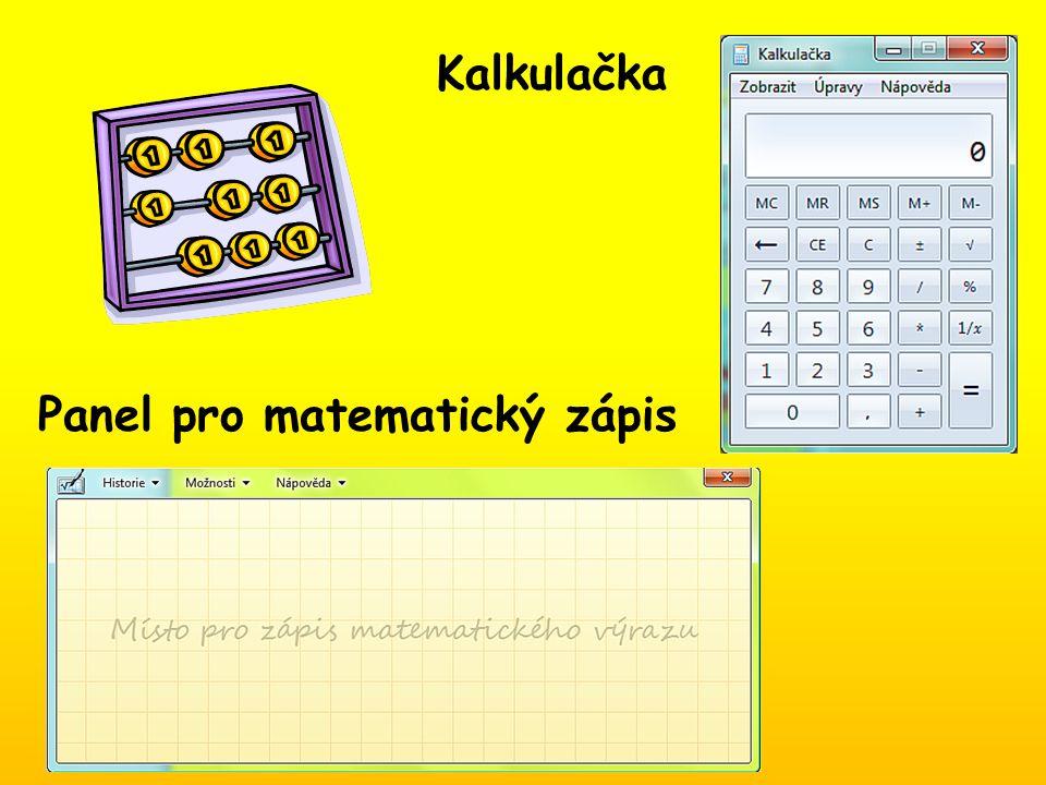 Kalkulačka Panel pro matematický zápis