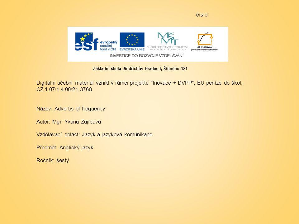 číslo: Digitální učební materiál vznikl v rámci projektu Inovace + DVPP , EU peníze do škol, CZ.1.07/1.4.00/21.3768 Název: Adverbs of frequency Autor: Mgr.