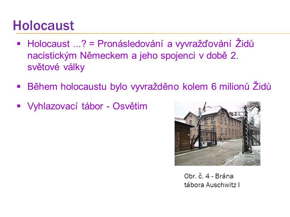 Holocaust  Holocaust...? = Pronásledování a vyvražďování Židů nacistickým Německem a jeho spojenci v době 2. světové války  Během holocaustu bylo vy