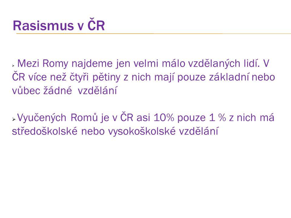 Rasismus v ČR  Mezi Romy najdeme jen velmi málo vzdělaných lidí. V ČR více než čtyři pětiny z nich mají pouze základní nebo vůbec žádné vzdělání  Vy