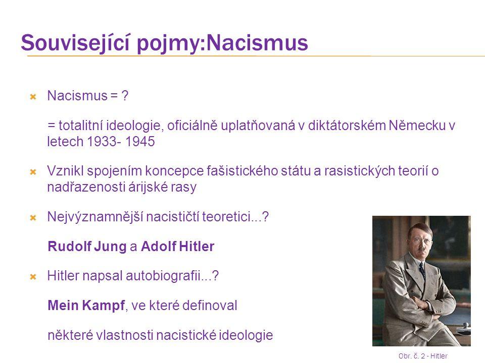 Související pojmy:Nacismus  Nacismus = ? = totalitní ideologie, oficiálně uplatňovaná v diktátorském Německu v letech 1933- 1945  Vznikl spojením ko