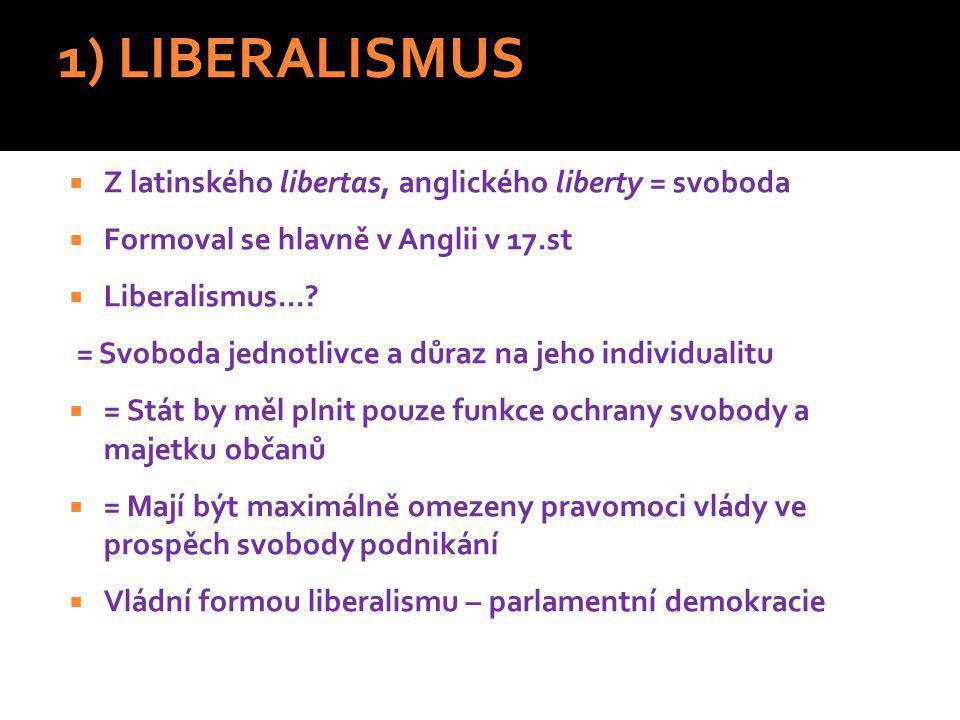 1) LIBERALISMUS  Z latinského libertas, anglického liberty = svoboda  Formoval se hlavně v Anglii v 17.st  Liberalismus....