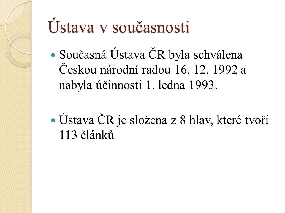 Ústava v současnosti Současná Ústava ČR byla schválena Českou národní radou 16.