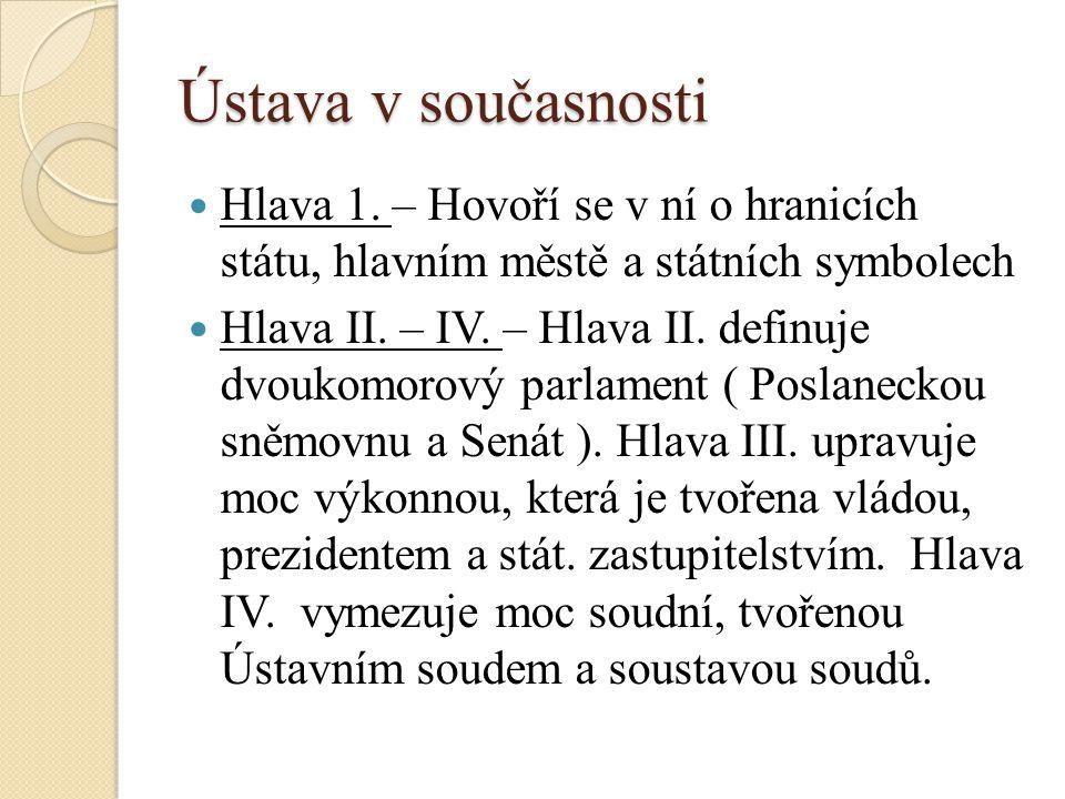 Ústava v současnosti Hlava 1.