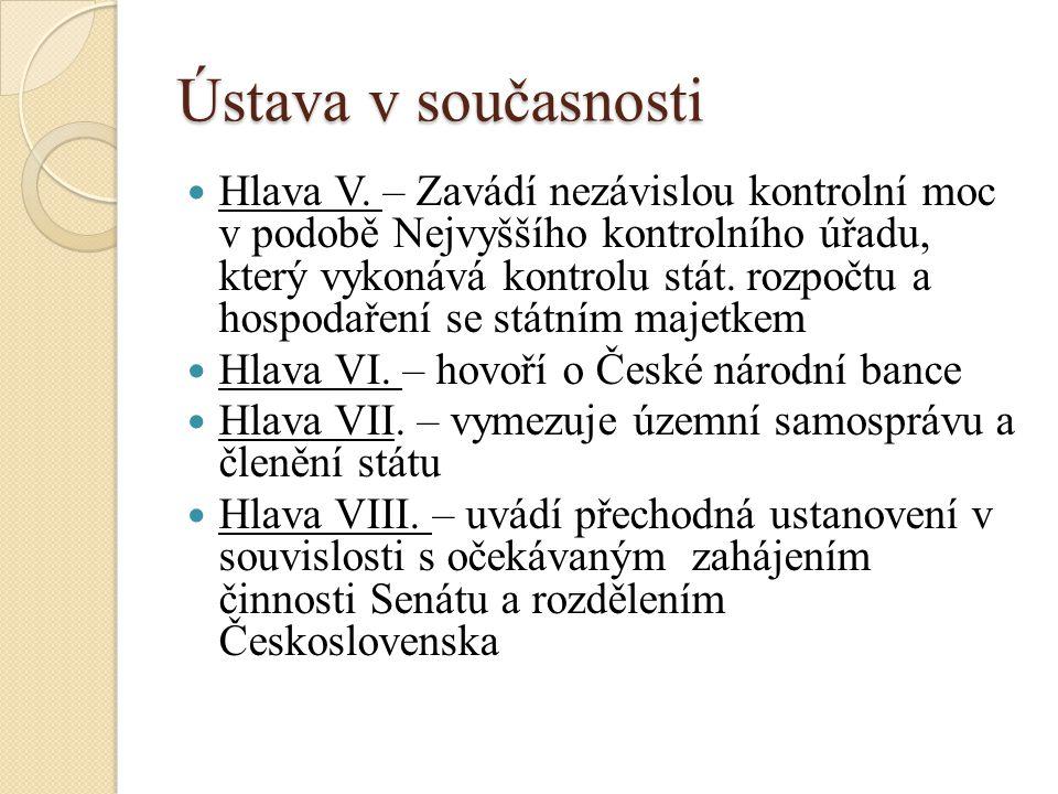 Ústava v současnosti Hlava V.