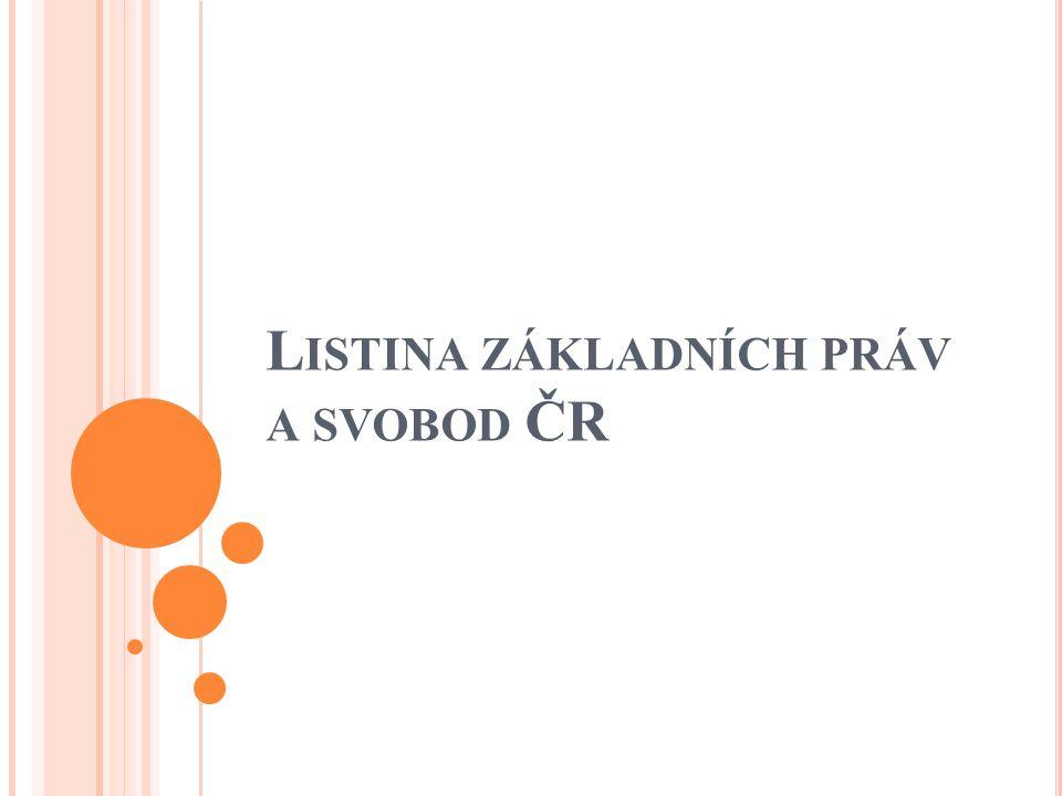 Byla přijata roku 1992 Stala se součástí ústavního pořádku ČR Je složena z preambule a 6 hlav ( 44 článků ), které se věnují 5 základním okruhům práv