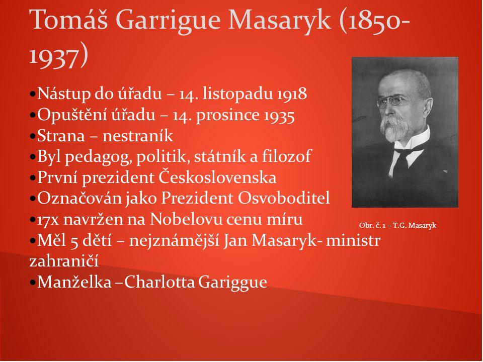Nástup do úřadu – 14. listopadu 1918 Opuštění úřadu – 14. prosince 1935 Strana – nestraník Byl pedagog, politik, státník a filozof První prezident Čes
