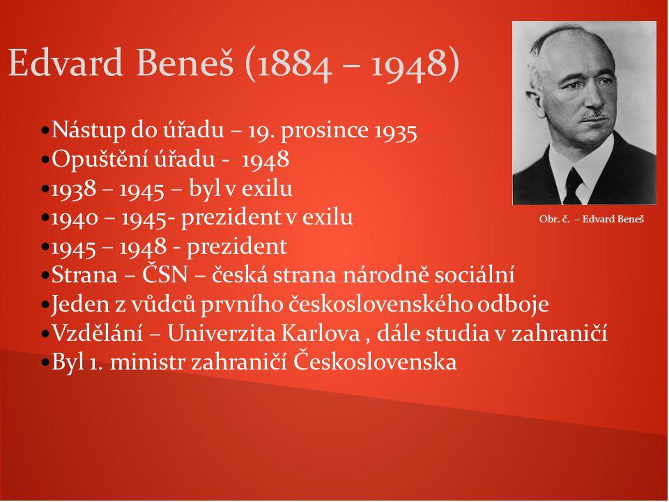 Nástup do úřadu – 19. prosince 1935 Opuštění úřadu - 1948 1938 – 1945 – byl v exilu 1940 – 1945- prezident v exilu 1945 – 1948 - prezident Strana – ČS